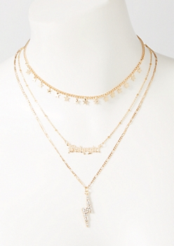 3-Pack Gold Baby Girl Lightning Layered Necklace Set