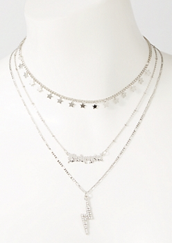 3-Pack Silver Baby Girl Lightning Layered Necklace Set