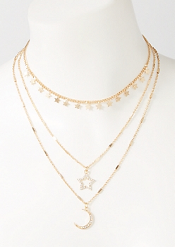3-Pack Gold Celestial Layered Necklace Set
