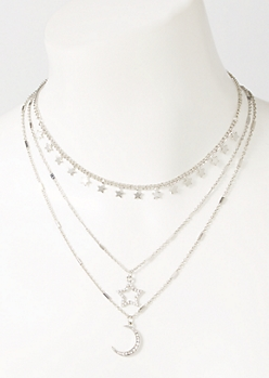 3-Pack Silver Celestial Layered Necklace Set