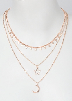 3-Pack Rose Gold Celestial Layered Necklace Set