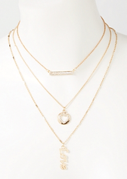 3-Pack Gold Love Bar Layered Necklace Set