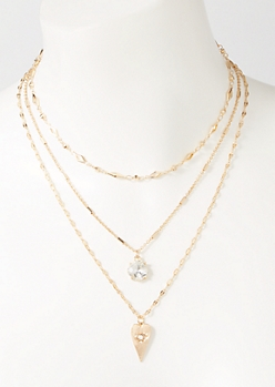 3-Pack Gold Eye Heart Layered Necklace Set