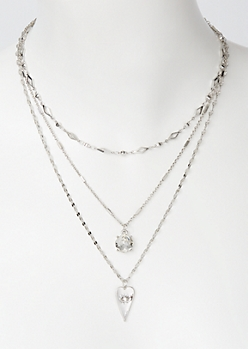 3-Pack Silver Love Bar Layered Necklace Set