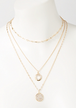 3-Pack Gold Circle Layered Necklace Set
