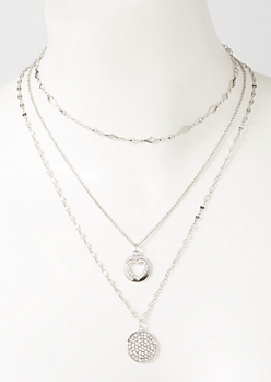 3-Pack Silver Circle Layered Necklace Set