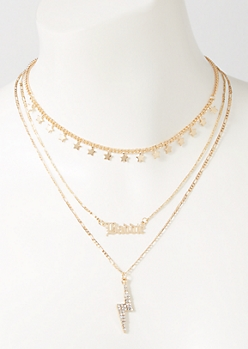 3-Pack Gold Baddie Lightening Layered Necklace Set