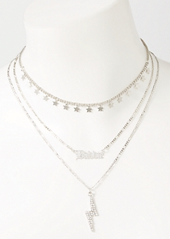 3-Pack Silver Baddie Lightening Layered Necklace Set
