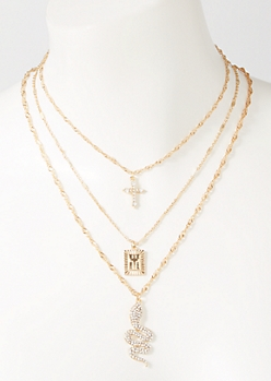 3-Pack Gold Snake Cross Layered Necklace Set