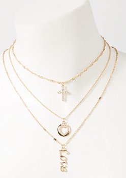 3-Pack Gold Love Layered Necklace Set