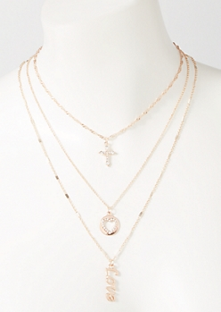 3-Pack Rose Gold Love Layered Necklace Set