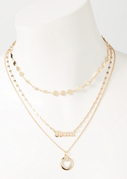 3-Pack Gold Queen Heart Layered Necklace Set