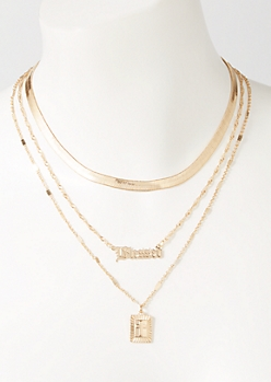 3-Pack Gold Snake Chain Blessed Layered Necklace Set