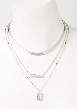 3-Pack Silver Snake Chain Blessed Layered Necklace Set