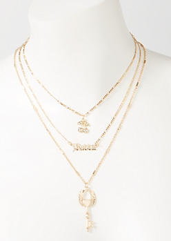 3-Pack Gold Baddie Layered Necklace Set