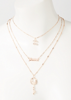 3-Pack Rose Gold Baddie Layered Necklace Set