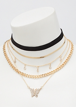 5-Pack Gold Velvet Choker Necklace Set