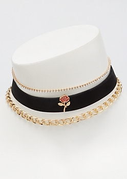 3-Pack Velvet Rose Choker Necklace Set