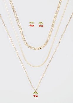 Cherry Enamel Layered Necklace And Earring Set