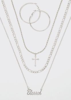 Silver Blessed Layered Necklace And Earring Set