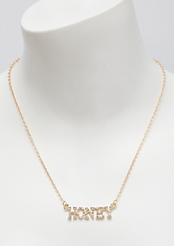 Gold Honey Rhinestone Chain Necklace