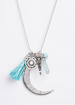 Moon Tassel Pendant Necklace