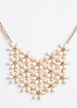Ivory Floral Pattern Bib Necklace