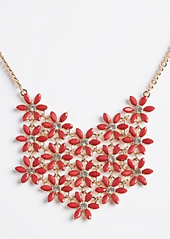 Red Floral Pattern Bib Necklace