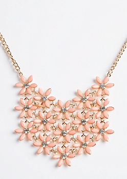 Coral Floral Pattern Bib Necklace