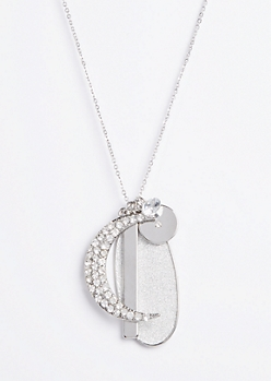Silver Moon Geo Pendant Necklace
