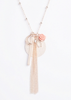 Rose Gold Tassel Pendant Necklace