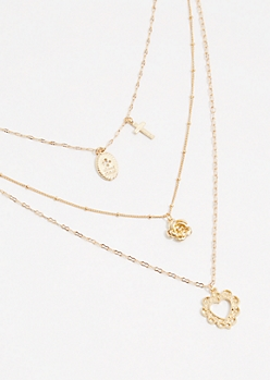 Gold Heart Cross Triple Layer Necklace
