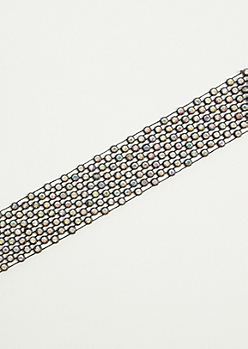 Black Iridescent Stone Choker Necklace