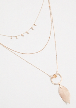 Rose Gold Leaf Ring Layered Necklace