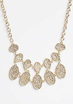 Gold Oval Pendant Statement Necklace