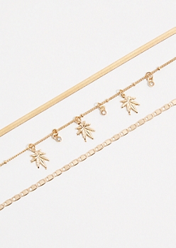 3-Pack Gold Weed Leaf Choker Necklace Set