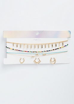 6-Pack Gold Rainbow Bead Choker Septum Jewelry Set