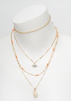 Coral Beaded Layered Shell Necklace