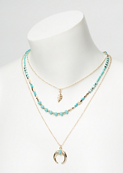 Turquoise Beaded Layered Boho Necklace