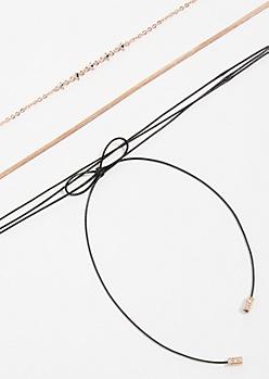 3-Pack Rose Gold Mini Gem Choker Necklace Set