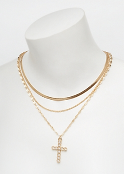3-Pack Gold Mixed Cross Necklace Set
