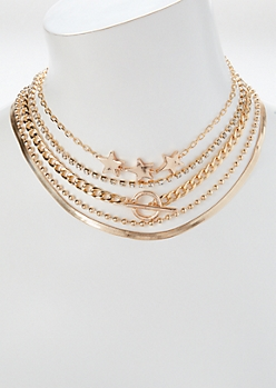 5-Pack Gold Star Stacked Necklace Set