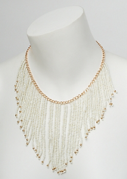 White Beaded Dangle Necklace