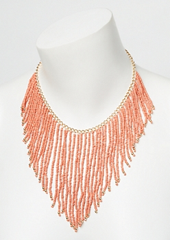 Coral Beaded Dangle Necklace
