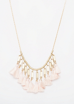 Gold Cream Tassel Necklace
