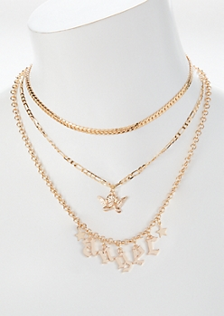 3-Pack Gold Angel Layered Necklace Set