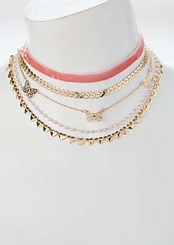 5-Pack Gold Butterfly Choker Necklace Set