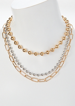 3-Pack Mixed Metal Chain Necklace Set
