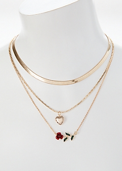 Gold Red Rose Layered Necklace