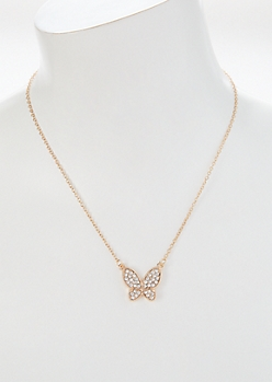 Gold Butterfly Rhinestone Charm Necklace